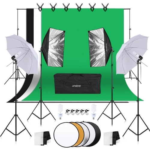 Andoer Photography Kit 1.8m*2.7m Black White Green Cotton Backdrops 6pcs Fish-like Mount 1pc 60cm 5in1 Photography Reflector 2pcs 33 Inch White Soft Light Umbrella 2pcs 50cm*70cm Softbox with Single Bulb Holder 4pcs 45W Light Bulb 2pcs Swivel Socket with Plug 1pc 2m * 3m Backdrop Stand 4pcs 2m Light Stand 5pcs Backdrop Retaining Clip for Photo Studio