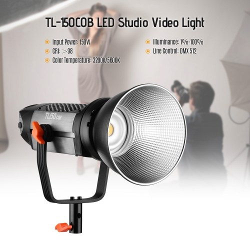 Andoer TL-150COB Studio LED Light Photography Lights Video Lighting 150W High Power 3200K/5600K Dimmable Brightness with Bowens Mount Wireless Remote Control and Reflector