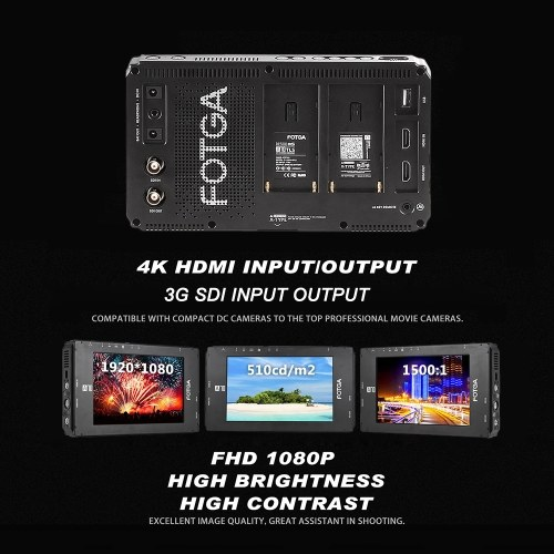 FOTGA A70TL 7 Inch FHD Video On-camera Field Monitor IPS Touchscreen 4K HDMI Input/Output 3D LUT Dual NP-F Battery Plate for A7S II GH5