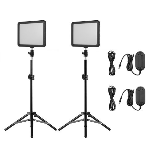 Andoer Photography Light Kit con 2 * WY-160C LED Video Light Panel Lampada di riempimento dimmerabile 3300K-5600K + 2 * 80cm / 31,5 pollici Supporti