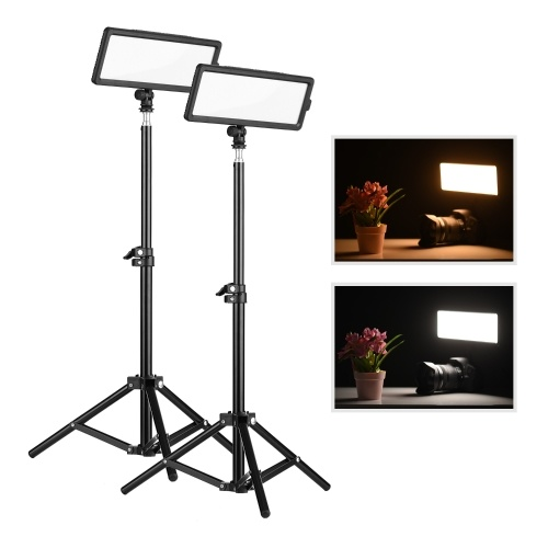 Andoer CM-280D Photography Light and Stand Kit Super Slim LED Video Light Panel Bi-Color 3200K-5600K CRI 93 Dimmable Brightness with Cold Shoe Mount for DSLR Cameras
