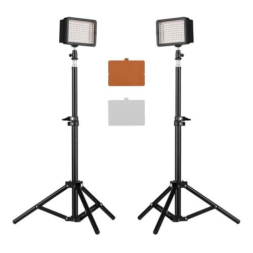 CN-160T LED-Videolicht-Kit Beleuchtung vor der Kamera 5600K Feste Farbtemperatur 160-teilige LED-Perlen Stufenlos Dimmbar