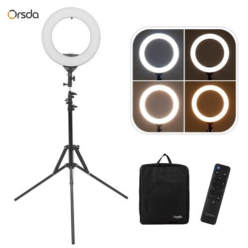 ORSDA ORB-14T 14 Pouce LED Anneau Lumière Studio Photographie Lampe de Remplissage 3200K-6500K 30W Dimmable Double Port de Charge USB