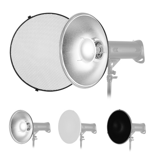 16 Inch Beauty Dish Studio Photography Reflector Diffuser with Honeycomb Soft Cloth