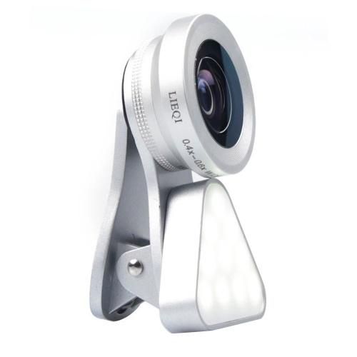 Kit 3-in-1 con luce di riempimento per smartphone e obiettivo per fotocamera del telefono