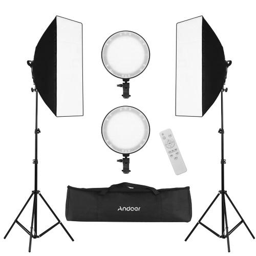Andoer Professional Studio Photography Softbox LED Light Kit