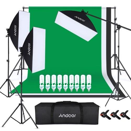 Andoer Photography Kit 1.8*2.8M Black White Green Polyester Cotton Backdrop 3pcs Fish-like Mount Clip 2pcs 50cm*70cm Softbox with 4in1 Bulb Socket 1pc 50cm*70cm Softbox with Single Bulb Socket 9pcs 135W Light Bulb 1pc Boom Arm 1pc Sandbag 1pc 2*3 Meters Backdrop Stand 3pcs 2M Light Stand for Photo Studio