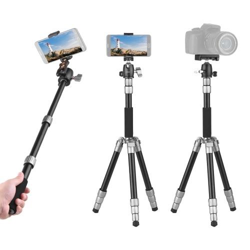 Andoer Q066 Kompaktes tragbares Stativ Leichtes Stativ-Einbeinstativ mit Telefonclip Schnellwechselplatte Kugelkopf-Aufbewahrungstasche für Smartphone-Kamera