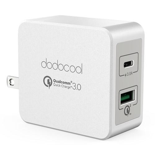dodocool 33W 2 portas USB carregador de parede Power Adapter com 18W Quick Charge 3.0 e 15W reversível tipo C cobrando portas dobrável US plugue branco
