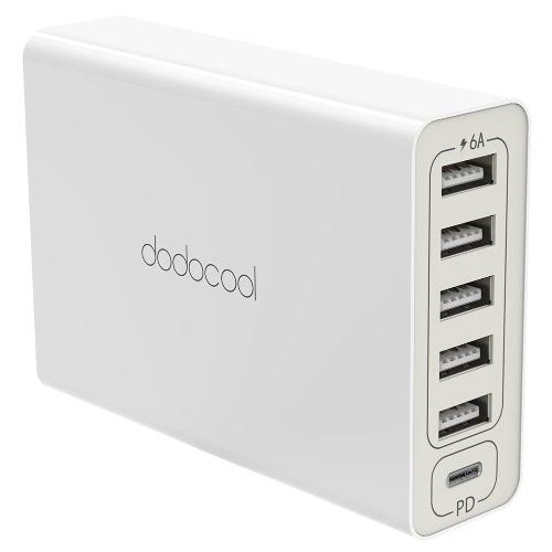 Adaptador de alimentação USB de 6 portas 60W dodocool com entrega de energia USB-C e 5 portas USB-A universais Cabo de alimentação destacável de 4,92 pés / 1,5 m Cabo de alimentação USB