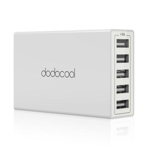 dodocool 40W 8A 5-Port USB estação viagens parede carregador energia adaptador de carga com 1,5 m de cabo de alimentação AC destacável para iPhone / iPad / Android Smartphone Tablet portátil dispositivo nos Plug branco