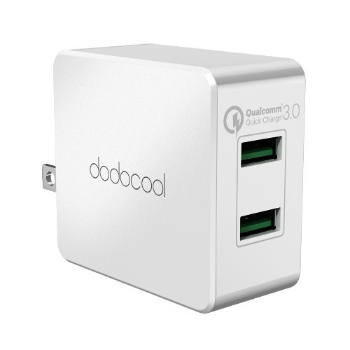 dodocool 36W Quick Charge 3.0 2-Port USB Wall Charger Power Adapter with Foldable US Plug White