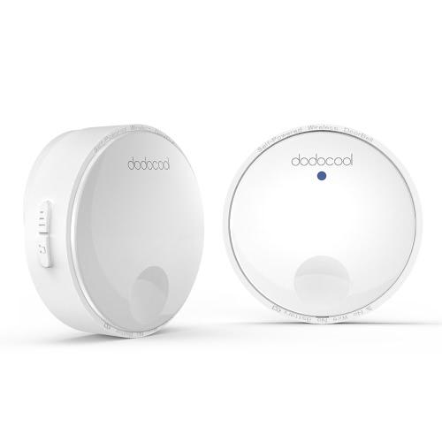 Dodocool Kit de sonnette sans fil auto-alimenté sans batterie avec 1 bouton-poussoir émetteur sans batterie et 1 récepteur enfichable blanc