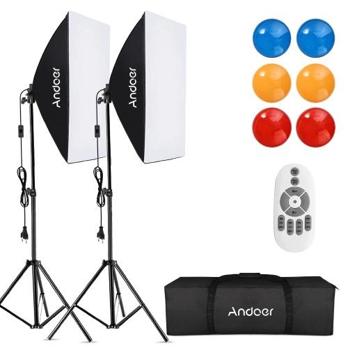 Andoer Studio Photography Softbox RGB-LED-Beleuchtungsset mit 20 * 28-Zoll-Softbox * 2 / 5500K 35W LED-Licht * 2 / Farbfilter * 6 (Rot / Gelb / Blau) / 2M Lichtstativ * 2 / Drahtlose Fernbedienung * 1 / Tragetasche * 1 für Live-Streaming-Porträt-Produktaufnahmen