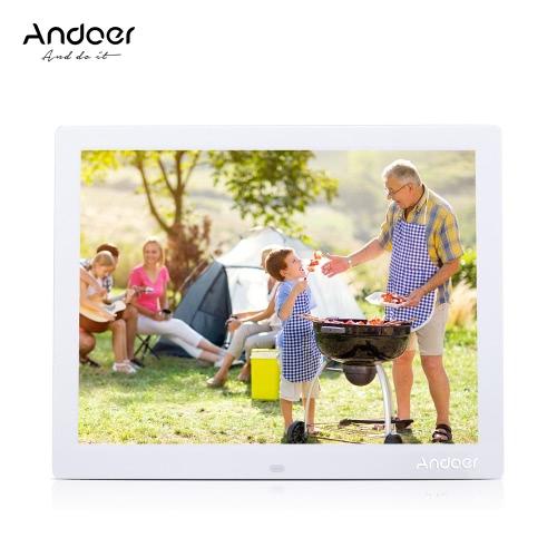 Andoer 15 '' HD TFT-LCD 1024 * 768 Zegar cyfrowy Zegar fotograficzny Zegar MP3 MP4 Player z pulpitem zdalnym