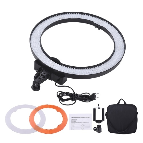 Andoer LA-650D 5500K 36W Ring Digital Photographic Studio Light with 600 LED Lights Stepless Adjustment W/ Color Filters and Bag for Photographic Lighting Portrait Photography Live Show