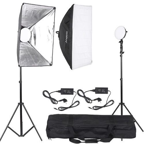 Andoer LED Photography Studio Lighting Light Kit with 2 * 30W LED Lamp + 2 * Softbox * 2 * Light Stand + 1 * Carrying Bag