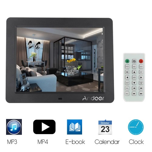 MP3//Photo//Video Player with Remote Control 9-Inch Digital Picture Photo Frame 4:3 High Resolution IPS LCD Screen