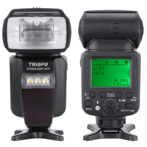 TRIOPO L870 GN58 Automatic Manual Zoom i-TTL E-TTL Master Slave Speedlite Light Flash HSS 1/8000s for Canon EOS 760D 750D 7D2 5D3 5DR 5DRS for Nikon D750 D810 D7200 D610 D7000 D5500 D5200 DSLR Camera with 2500mAh Lithium-ion Rechargable Battery
