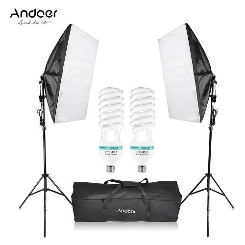 Andoer Photography Studio Cube Parasol Softbox światła Lighting Kit Namiot Equipment Photo Film 2 * 135W żarówki 2 * 2 * Statyw Stojak Softbox 1 * torba dla portret Produktu