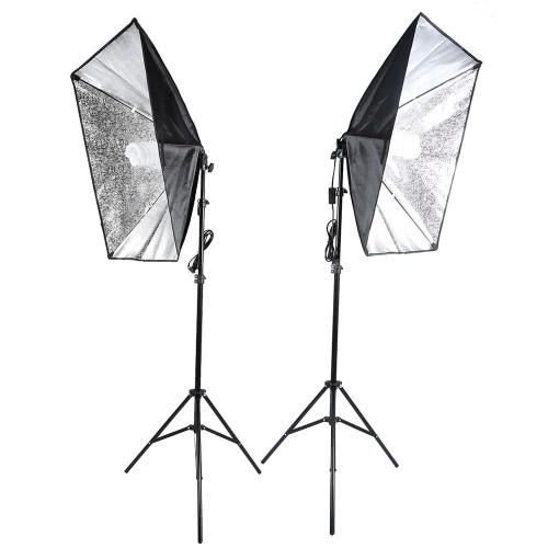 Andoer Photography Studio Cube Parasol Softbox światła Lighting Kit Namiot Equipment Photo Film 2 * 135W żarówki 2 * 2 * Statyw Stojak Softbox 1 * torba dla portret Produktu