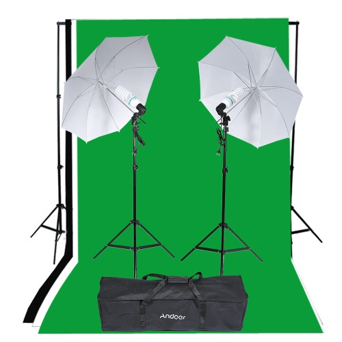 Andoer Photography Studio Portrait Product Light Lighting Tent Kit Photo Video Equipment (2 * 135W Bulb+2 * Bulb Holder+2 * Reflective Shooting-through Umbrella+3 * Backdrops+1* Backdrop stand+2 * Tripod Stands+1* Carrying Bag)