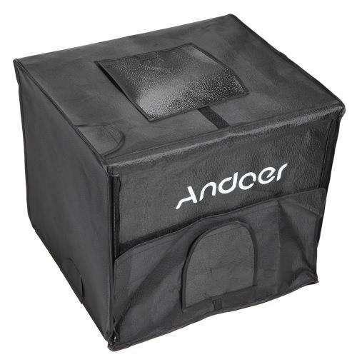 Andoer 40 * 35 * 35 cm klappbar Fotografie Studio LED Light Zelt Kit Softbox mit 2 Leuchtfelder 3 Farbe Kulissen Power Adapter Tragetasche