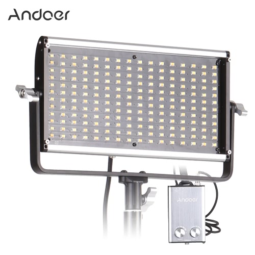 Andoer DLED-350S Dimmable Bi-Color LED Video Light Ultra-thin LED Panel 192 SMD Lamp Beads CRI 95+ Color Temp 3200-5600K Large Power w/ V Mount Battery Controller Box