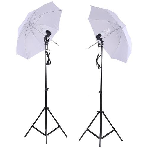 Zestaw Studio Oświetleniowego Zestawu Fotograficznego 2szt. 2 Mierniki 6.6Ft Podstawka + 2szt. 33 cali Biały Miękki Umbrella + 2szt. 45 W żarówka + 2sztowe Łożysko Światełko obrotowe