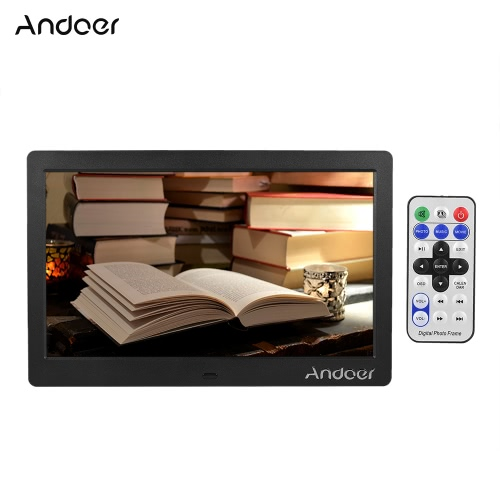 Oureong Digital Photo Frame Ultra-Thin Narrow Side 10 Inch Digital Picture Frame 1024600 Pixels High Resolution LED Screen Auto On//Off Timer Remote Control Included Color : Black, Size : 10inch