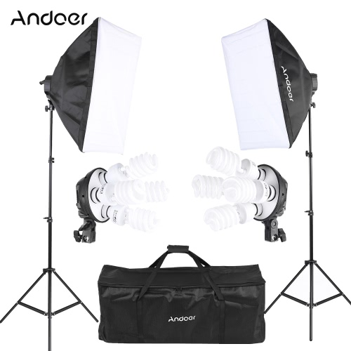 Andoer Photo Studio Lighting Kit z softbox 2 * / 2 * 4w1 Bulb Socket / 8 * 45W Żarówka / 2 * Światło Stojak / 1 * torba