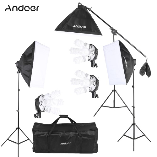 Andoer Studio Foto Wideo zestaw oświetleniowy z gniazdem 12 * 45W Żarówka / 3 * 4w1 Bulb / 3 * Softbox / 3 * Światło Stojak / 1 * konsolowe Memory Stick / 1 * Torba
