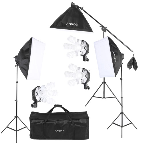 Andoer Studio Photo Video Lighting Kit with 12 * 45W Bulb / 3 * 4in1 Bulb Socket / 3 * Softbox / 3 * Light Stand / 1 * Cantilever Stick / 1 * Carrying Bag