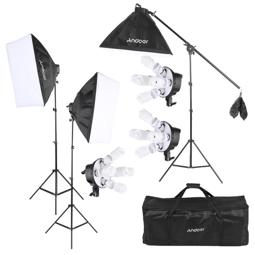 Andoer Studio Photo Video Softbox Lighting Kit Photo Equipment(15 * 45W Bulb / 3 * 5in1 Bulb Socket / 3 * Softbox / 3 * Light Stand / 1 * Cantilever Stick / 1 * Carrying Bag