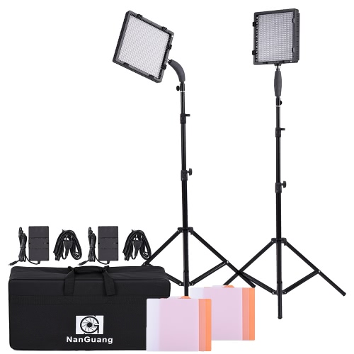 NanGuang CN-576 576pcs LED Beads 5600K/3200K Photography Video Camera Light Kit with LED Light + Adapter + Light Stand + Filters + Storage Bag
