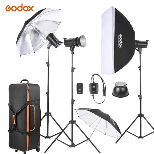 Godox DE300-D 3 * 300WS Studio Photo Strobe Flash Light Kit with Light Stand/Softbox/Reflector Umbrella/Soft Umbrella/Flash Trigger/Lamp Shade