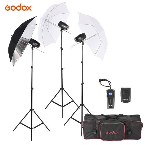 Godox M180-A Mini 3 * Kit d'éclairage 180WS studio Photo Flash Strobe avec (3) / Flash (3) Support Lumière / (2) souple Umbrella / (1) Relector Umbrella / (1) RT-16 Déclencheur Flash / (1) Sac de transport
