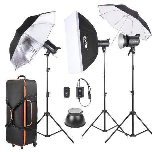 GODOX SK300-D 3 * 300WS 3 *ライトスタンド/ 1スタジオ写真のストロボフラッシュライトキット*ソフトボックス/ 1 *リフレクター傘/ 1 *ソフト傘/ 1 *キャリングバッグフラッシュトリガー/ 1 *ランプシェード/ 1 *ウィールド