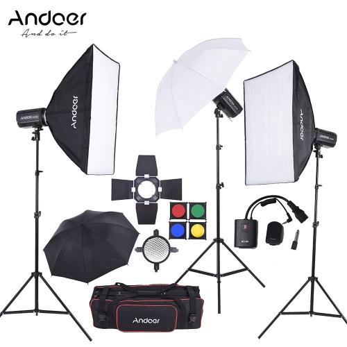 Andoer MD-250 750W (250W * 3) Zestaw Studio Strobe Light Flash Światło Stojak Softbox migotanie unbrella Barn Door wyzwalacz torba do nagrywania filmów i fotografii portretowej Lokalizacja