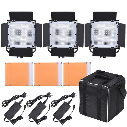 LED-600A 3 * VIDEO LED panelu światłowodowego Kit 576pcs LED Koraliki CRI90 + 5600K / 3200K z Barndoor / Filtry / Bag Storage