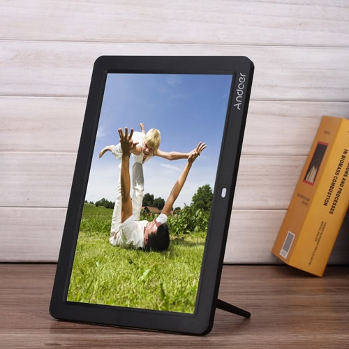 Andoer 12 Wide Screen Hd Led Digital Picture Frame Digital Album High Resolution 1280 800 Electronic Photo Frame With Remote Control Multiple Functions Including Led Clock Calendar Mp3 Mp4 Movie Player Support Multiple Languages