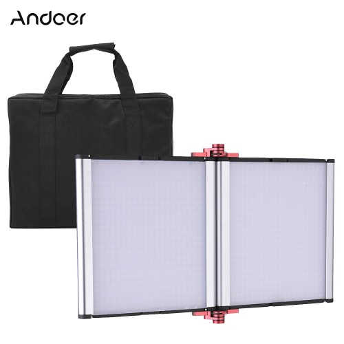 Andoer LED-ZD-1000D Składany jedwabny ściemnialny pojedynczy kolor 5600K 9800LM 960pcs LED Video Studio Panel fotograficzny Lampa świetlna Światło dzienne kamery cyfrowej kamery wideo DSLR