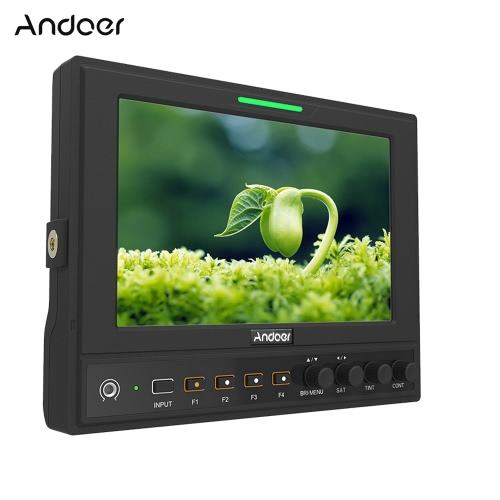 Andoer 662/S 7 Inch IPS 1280*800 3G-SDI Camera Field Monitor with HD & SDI Cross Conversion Color/RGB/Brightness Histogram Waveform Vectorscope Audio Level Meter Peaking Filter False Color for Canon Nikon Sony