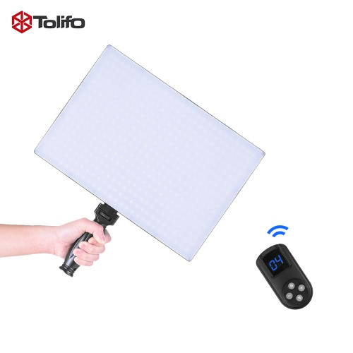 Tolifo Panel LED Video Photo Studio Light Lamp Phantom PT-650B Slim Bi-couleur 3200K ~ 5600K Dimmable w / Remote Control + Poignée