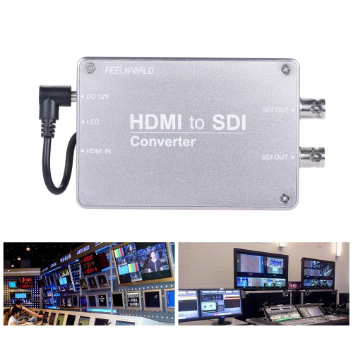 Feelworld HD to SDI Video Audio Converter Adpater HD Input 2-way SDI Output 1080P Broadcast Support 3G/HD/SD-SDI Conversion