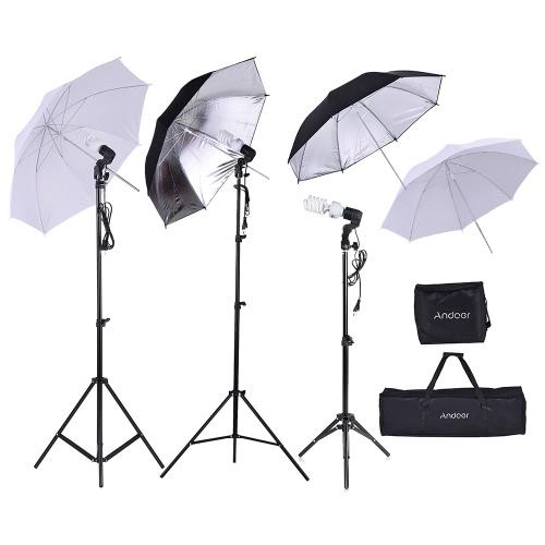 Andoer Photo Studio Kit 2 * 2m Light Stand + 3 * 45W Bulb + 2 * 83cm Parasol blanco suave translúcido +2 * 83cm Parasol negro y plateado + 1 * 80cm Soporte ligero + 3 * Bulbo giratorio Socket con 1 bolsa de almacenamiento de bulbo 1 Bolsa de transporte