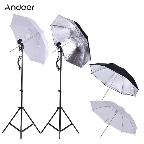 Andoer Photo Studio Continu Un kit d'éclairage Umbralle avec 2 * 2m Light Stand + 2 * 45W 5500K Photo Lamp Bulb + 2 * 83cm Translucent White Soft Umbrella +2 * 83cm Black & Silver Umbrella + 2 * Swivel Socket