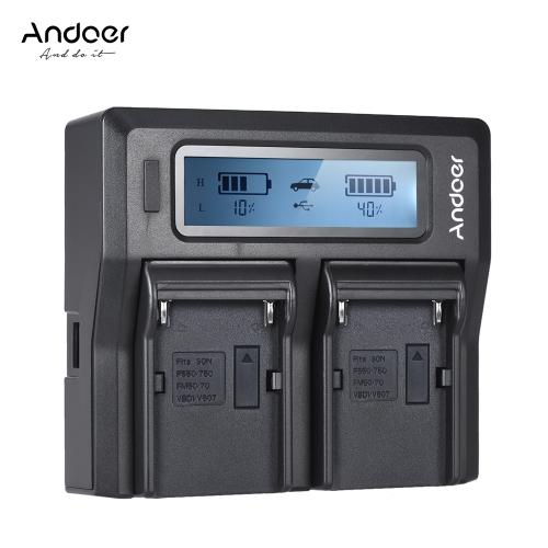 Andoer NP-F970 Cyfrowa ładowarka do aparatów cyfrowych z wyświetlaczem LCD dla Sony NP-F550 / F750 / F950 / NP-FM50 / FM500H / QM71