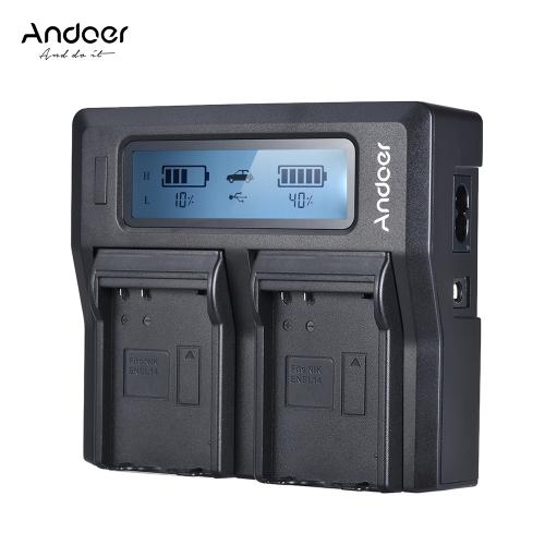 Andoer ENEL14 Dual Channel LCD Camera Battery Charger for Nikon D5600 D5500 D5300 D5200 D5100 D3100 D3200 D3300 D3400