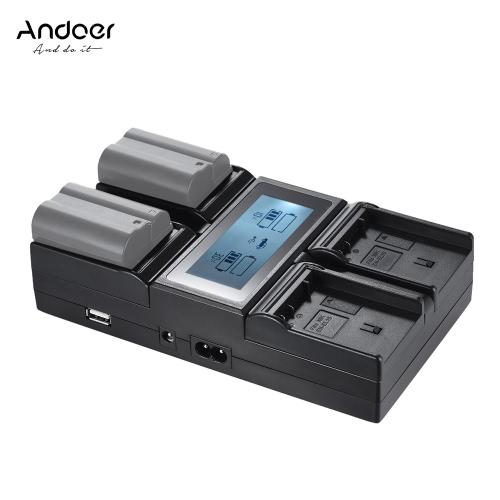 Andoer EN-EL15 4-kanałowa bateria do aparatu cyfrowego z wyświetlaczem LCD dla Nikona D500 D610 D7000 D7100 D750 D800 D810 D7200